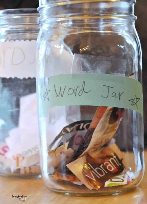 word collection jars for learning new words and saving favorites