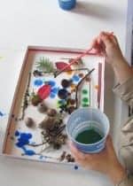 glue, nature, paint shadow box