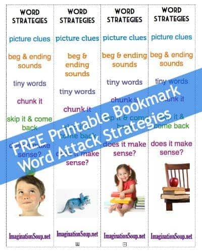 free printable bookmark of word attack strategies