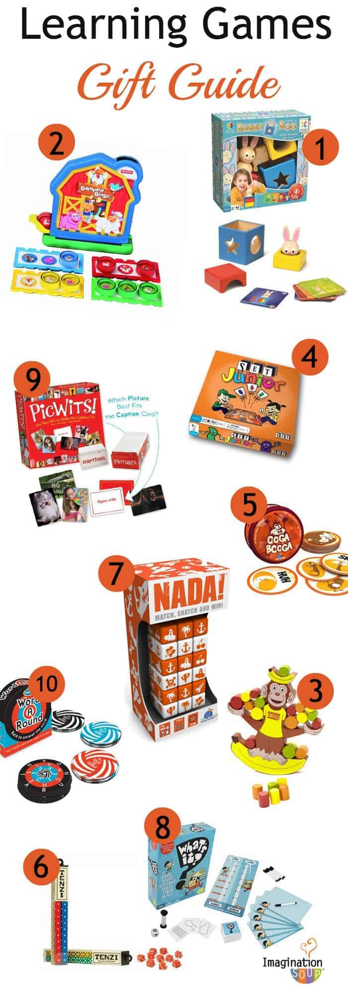 learning games gift guide on Imagination Soup