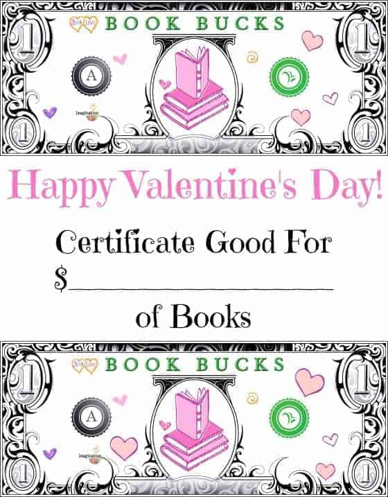 Valentine's Day gift idea for kids -- printable book bucks