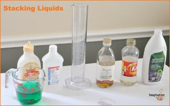 Stacking liquids set up