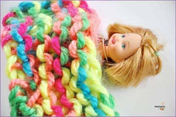 knit doll blanket