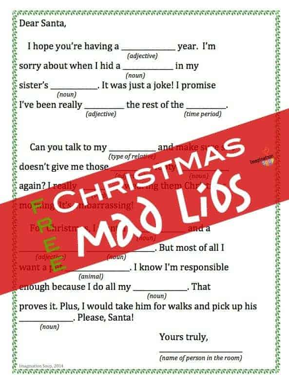 photograph relating to Printable Mad Libs Sheets for Adults known as No cost Printable Xmas Crazy Libs Creativeness Soup