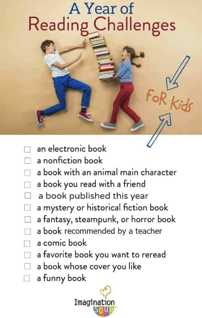 a year of reading challenges for kids (to increase books read, improve empathy, and introduce new genres)