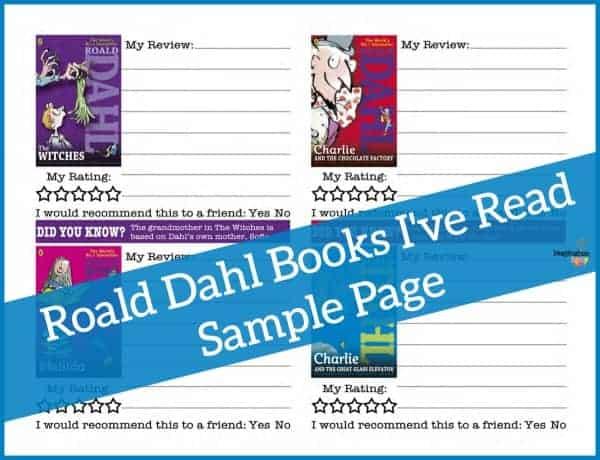 Roald Dahl Books Printable Page