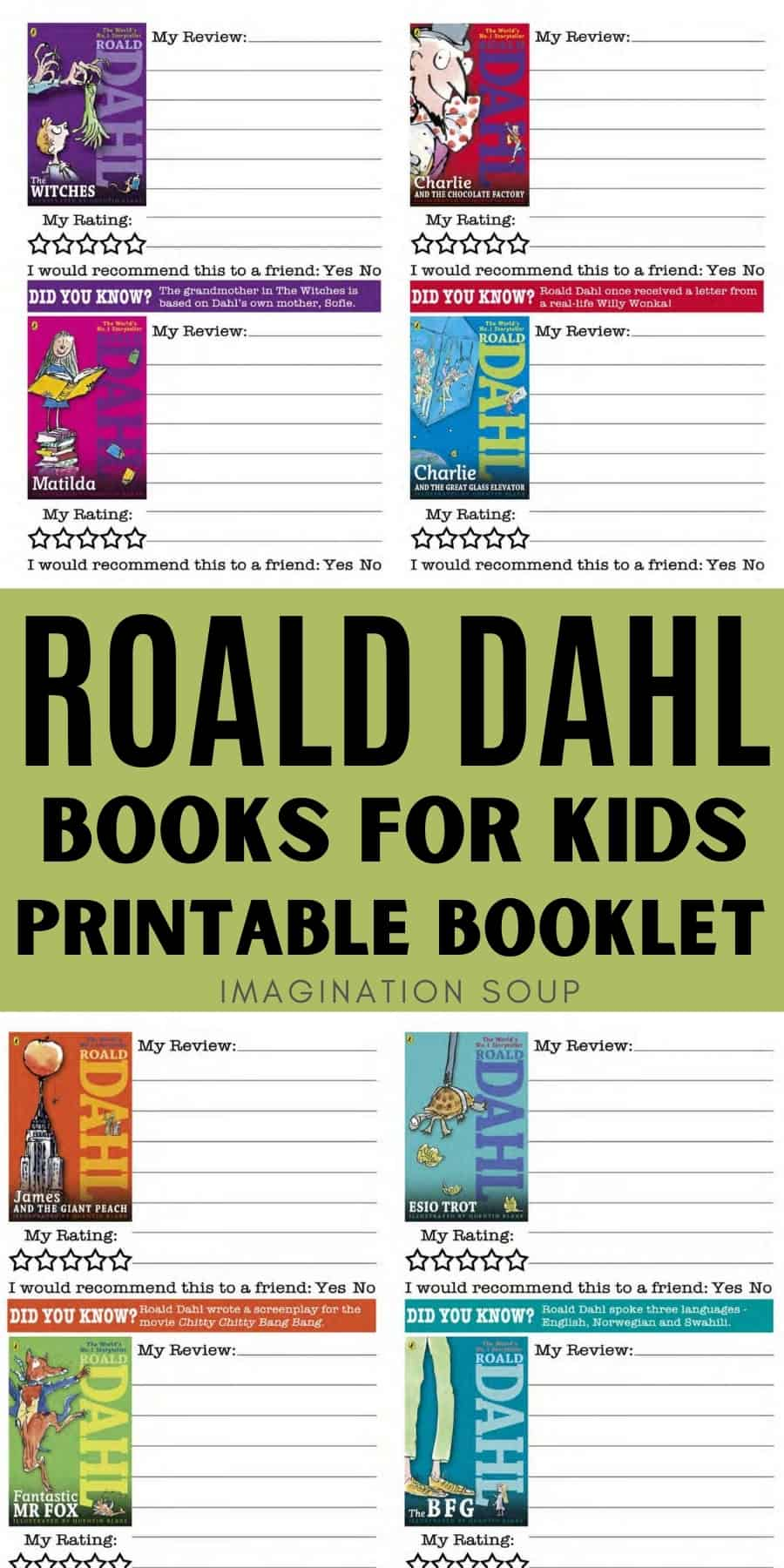 Roald Dahl books for kids plus a free printable booklet