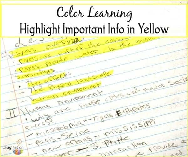 Color in Learning - highlight important info in yellow