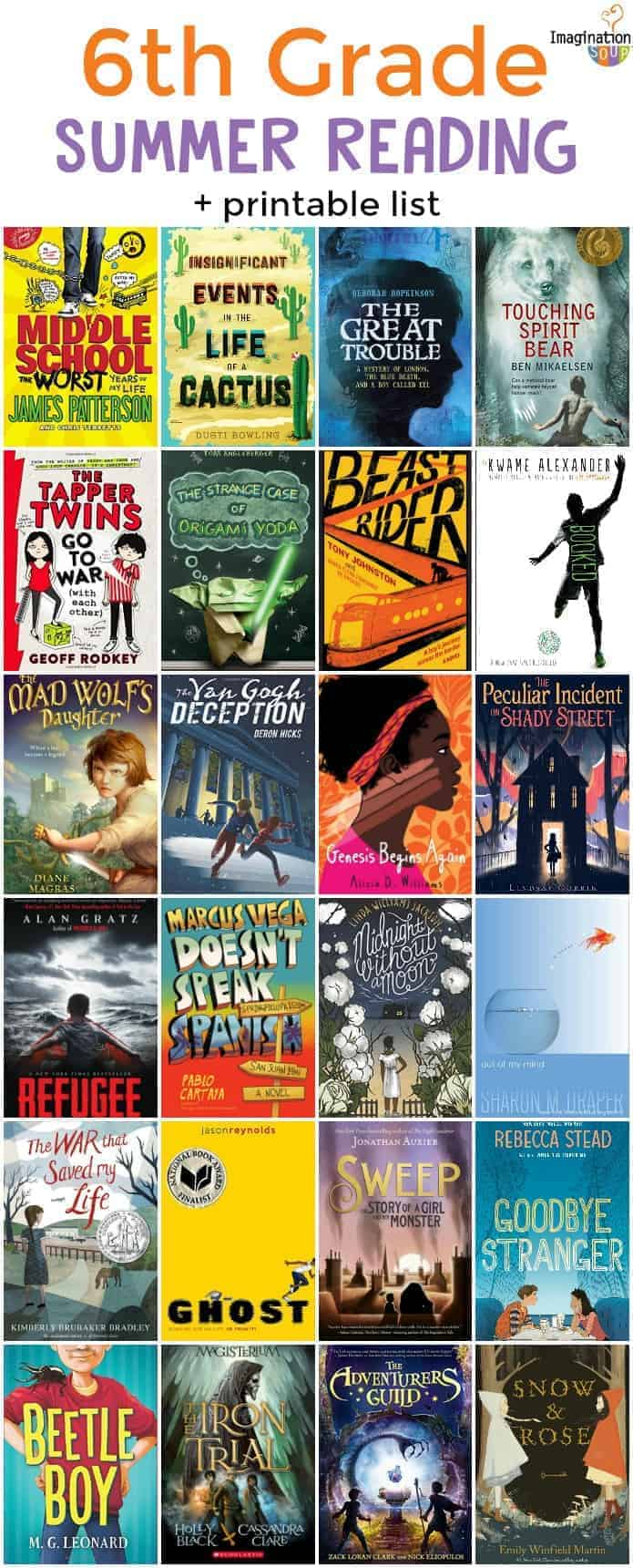 6th (sixth grade) summer reading list