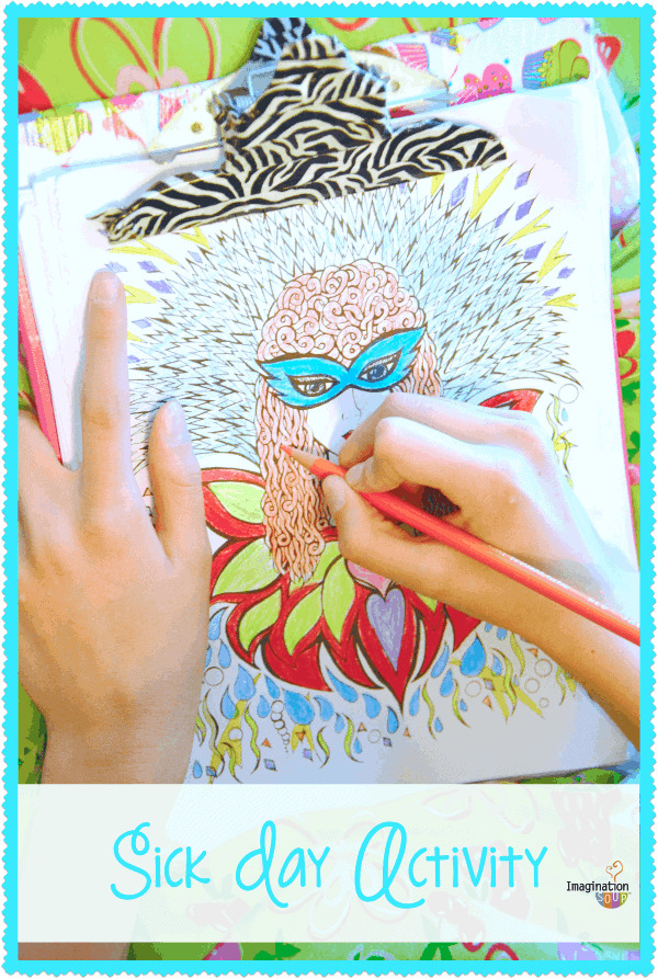 coloring is a great sick day activity