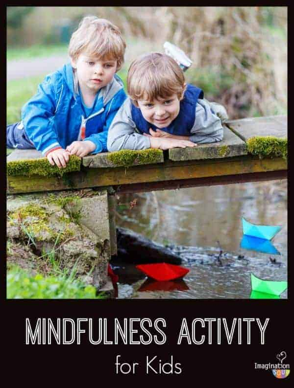 Mindfulness (EQ) activity for kids with sticks in a stream