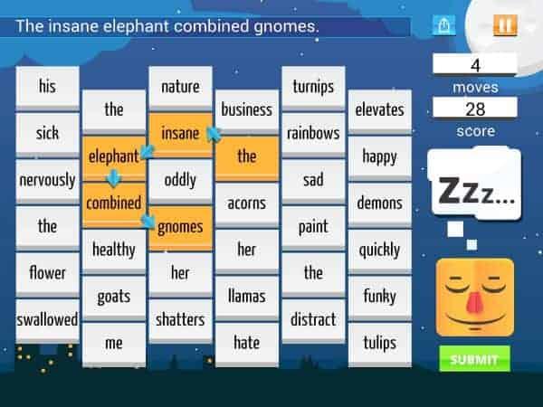 Sleep Furiously grammar app for kids