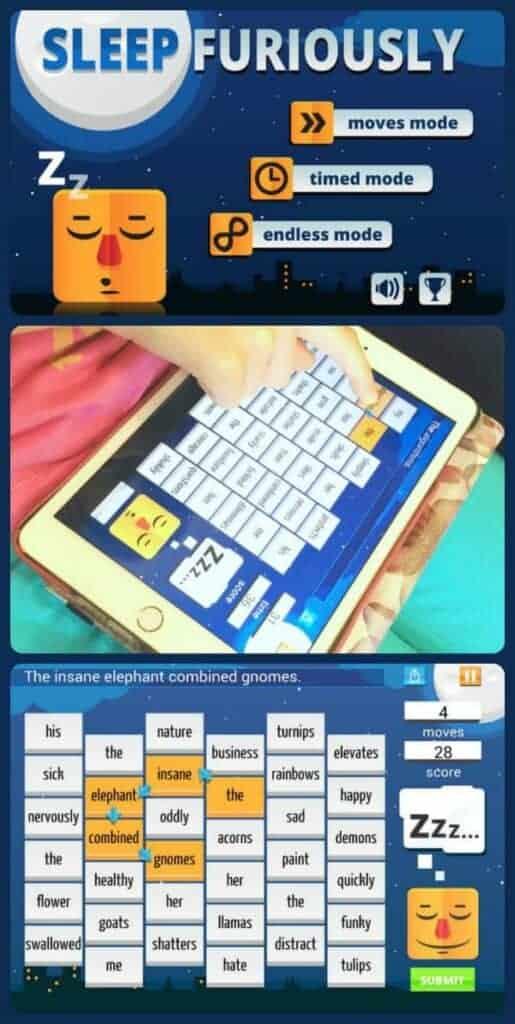 Sleep Furiously grammar app game for kids