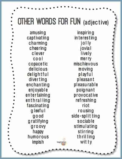free printable other ways to say the word FUN