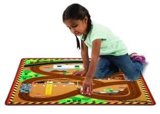 Round the Construction Zone Work Site Rug and Vehicle Set Pretend Play Gifts for Kids