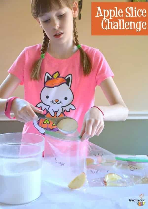 apple slice challenge from The Curious Kid's Science Book
