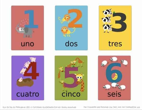 Spanish Numbers Flashcards