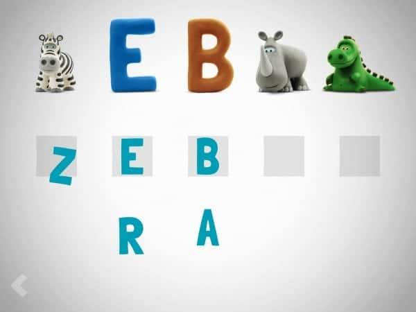 z zebra HEY CLAY Adorable Claymation Alphabet App