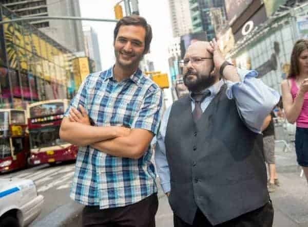 NEW YORK CITY, N.Y.- Jason Silva with Marc Salem in Times Square. (Photo Credit: NG Studios/Scott Gries)
