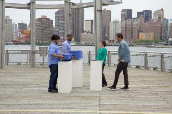 QUEENS, N.Y.- Jason Silva and Dr. Allison Okamura guiding two male participants through the Size Weight Illusion. (Photo Credit: NG Studios/Lee Johnson)