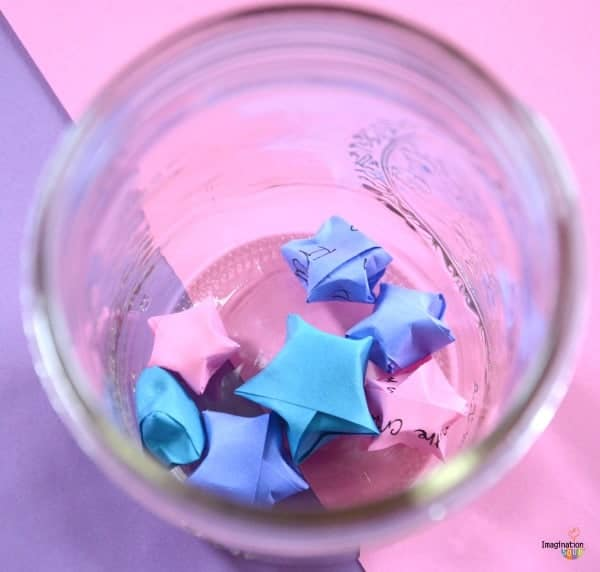 DIY origami stars in jar