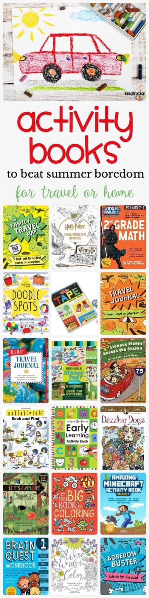 coloring, activity, and travel books for kids