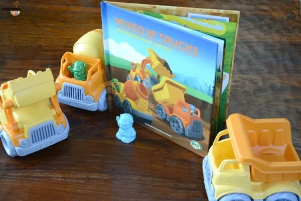 Mixed Up Trucks Green Toys book and toys