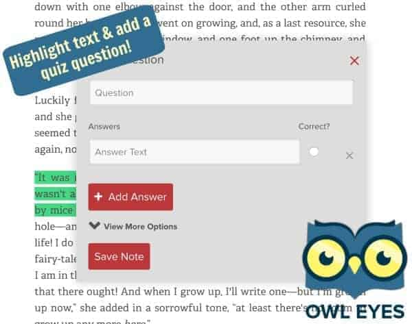 Owl Eyes Free eReader of Texts for Classrooms