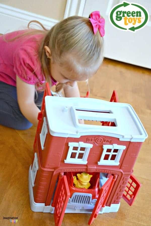 New!! Green Toys Fire Station Playset for hours of pretend play