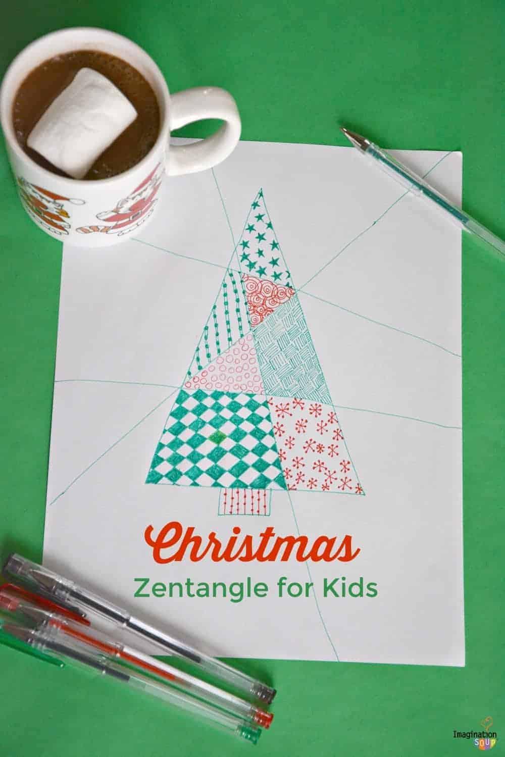 Simple Christmas Zentangle for Kids