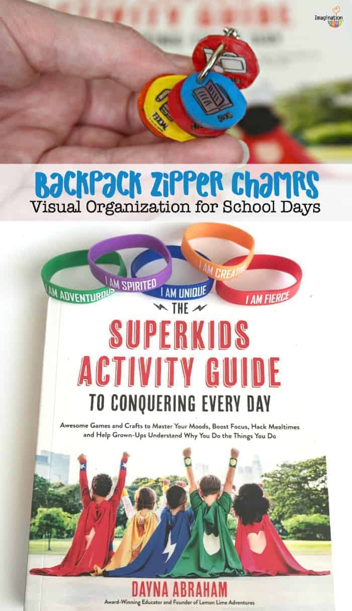 stay organized with this fun backpack zipper charms activity from The Superkids Activity Guide to Conquering Every Day by Dayna Abraham