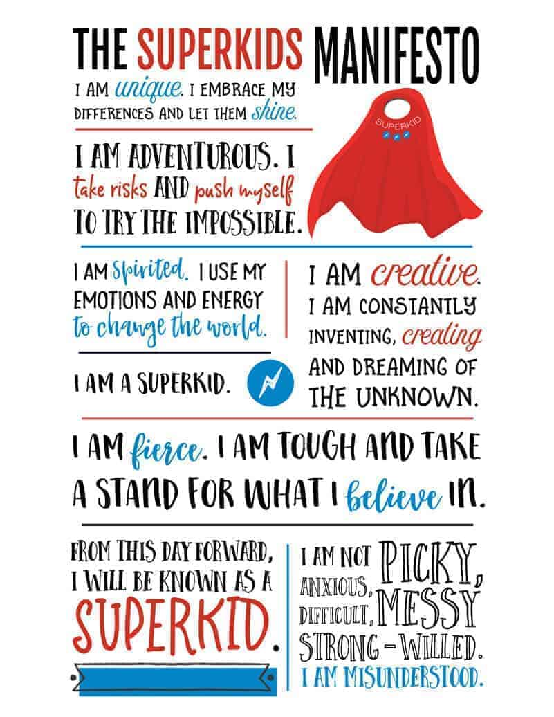 The Superkids Manifesto from The Superkids Activity Guide to Conquering Every Day