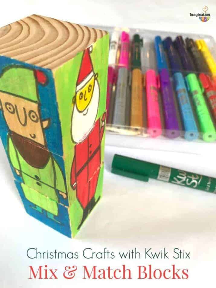 super fun and easy Christmas painted block craft to mix and match