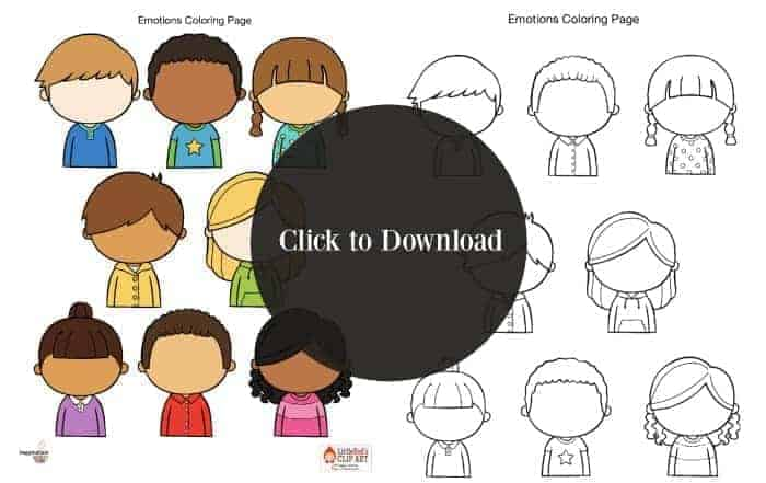 emotions coloring page with blank faces