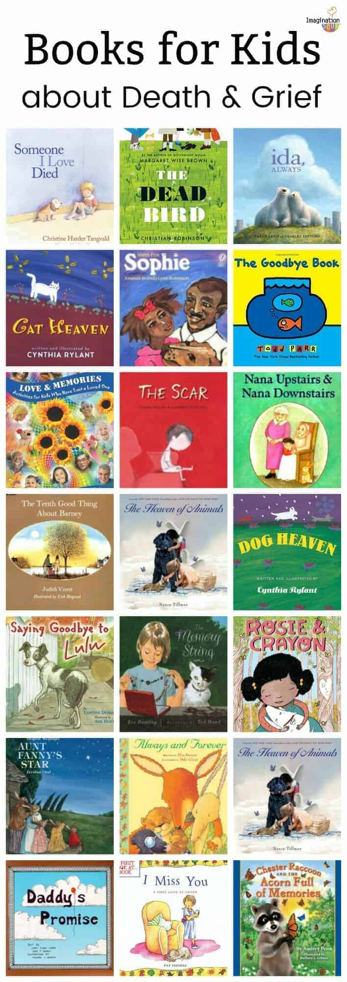 21 helpful picture books for children about grief and the death of a parent, relative, friend, or pet