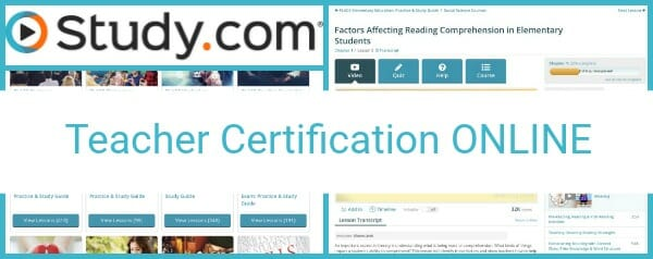 study.com teacher certification online | test