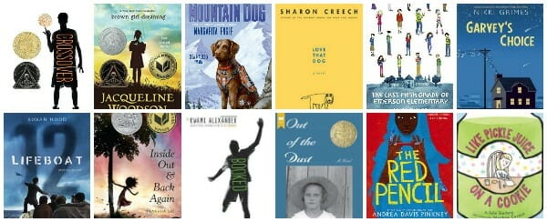 12 chapter books written in verse prose poetry for elementary and middle school students