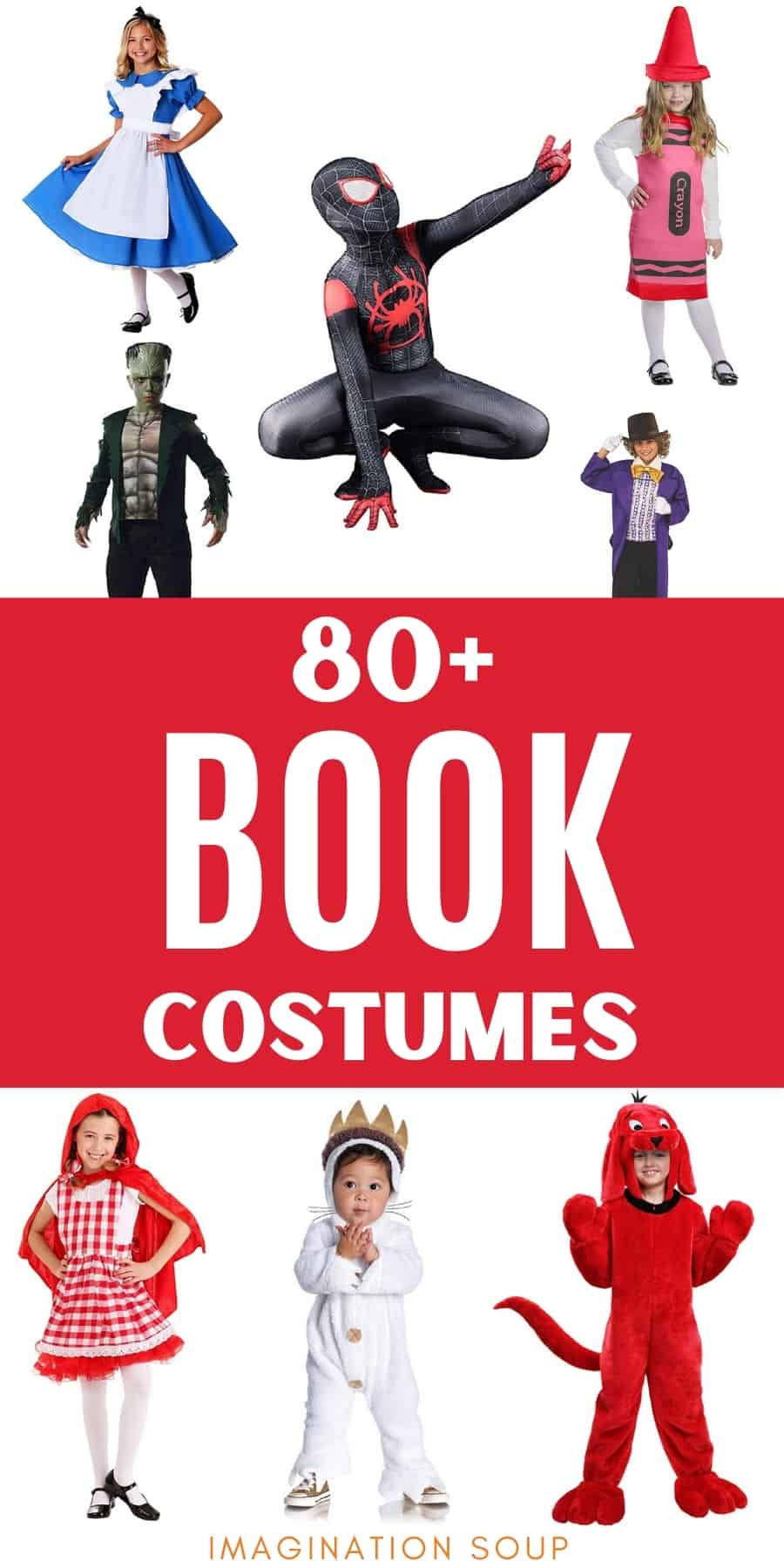 80 book character costumes for kids on Halloween or World Book Day