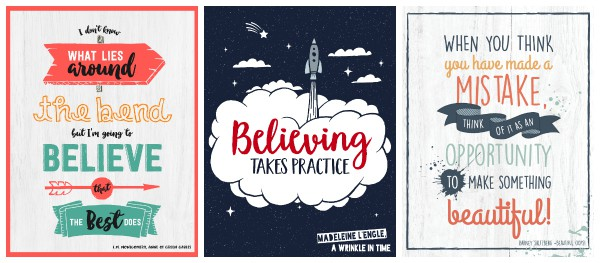 printable, inspiring growth mindset posters (quotes from children's books)