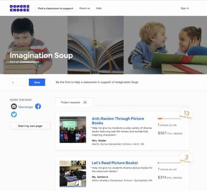 DonorsChoose Imagination Soup Page