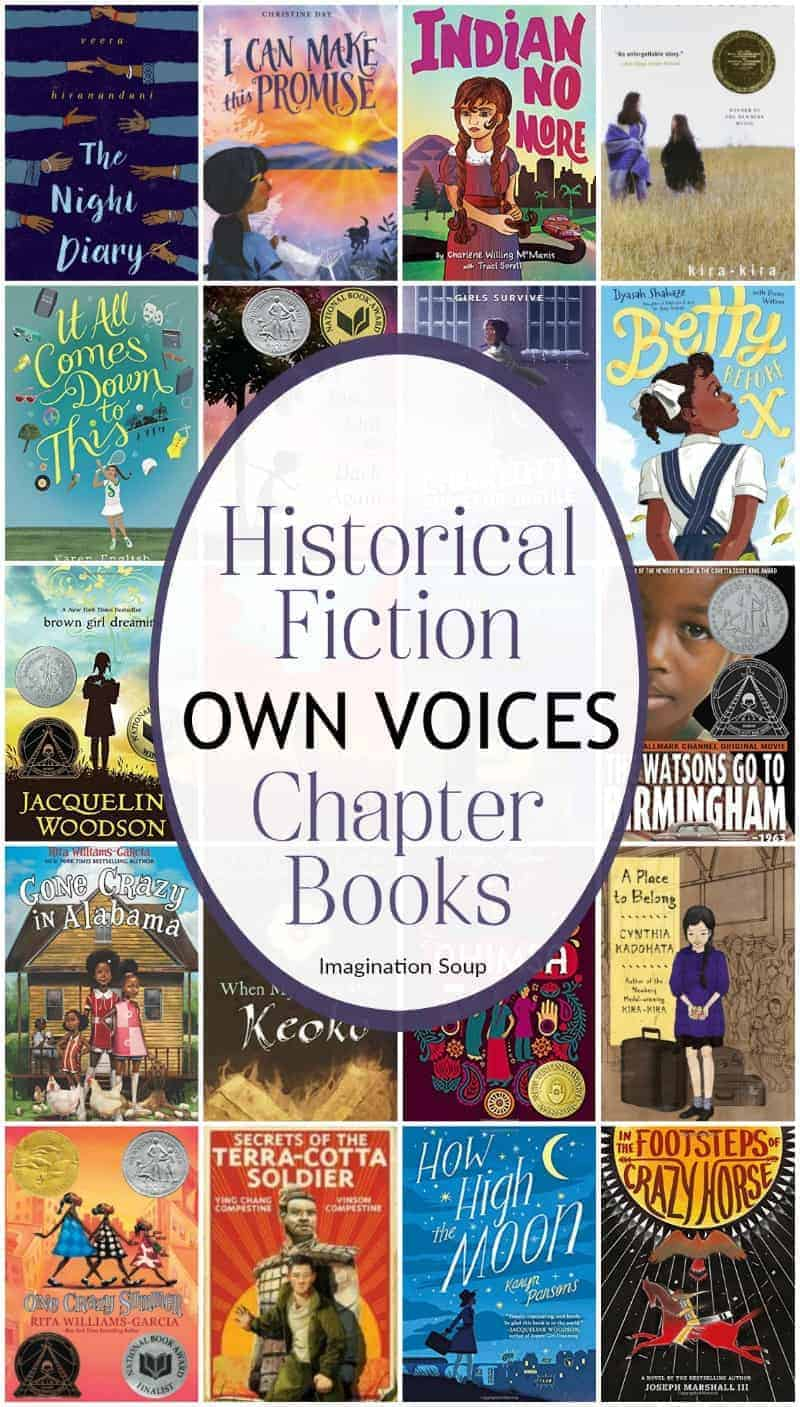 Diverse historical fiction OwnVoices chapter books for kids + printable list