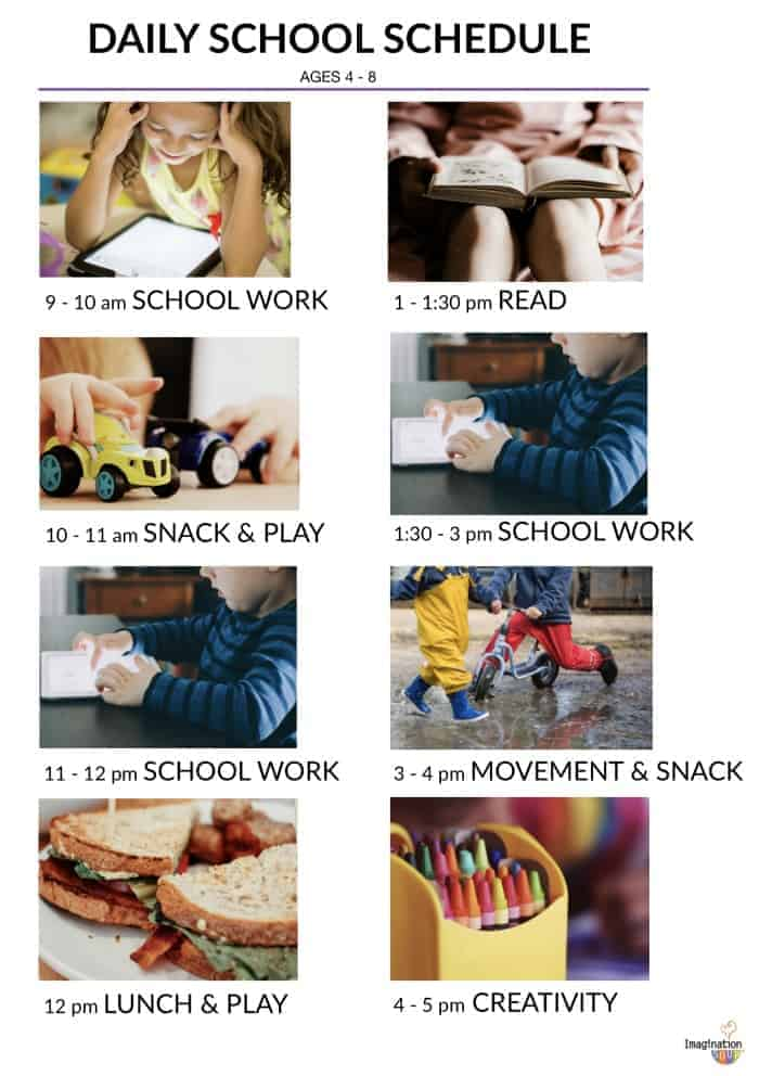 daily at home school schedule ages 4 - 8