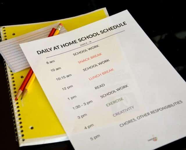 homeschooling schedule due to school closures