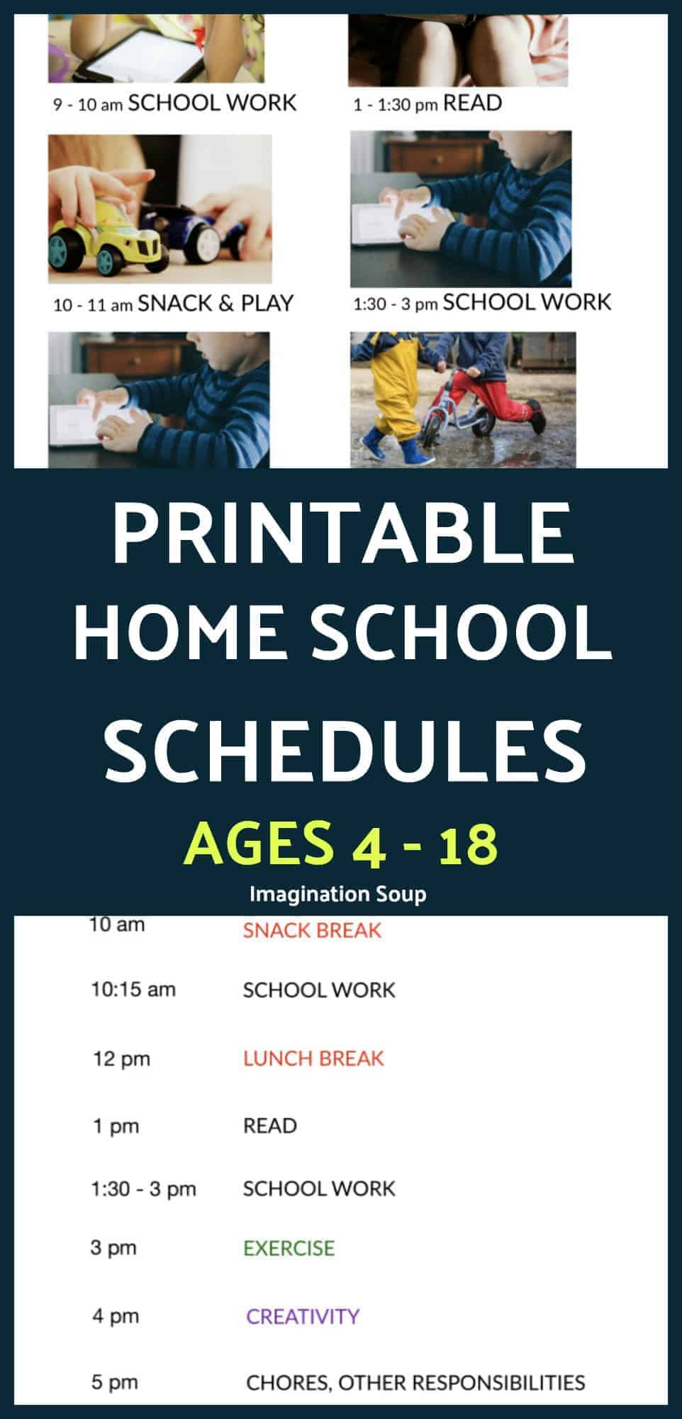 printable home school schedules for prek to high school kids