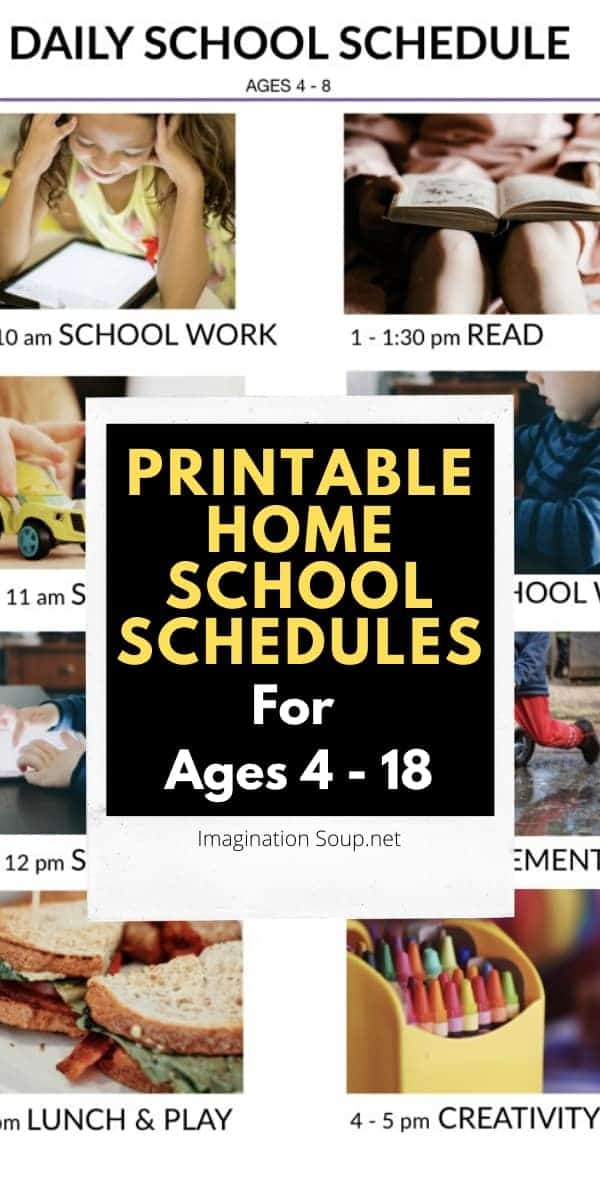 printable home school schedules for school at home due to the Coronavirus