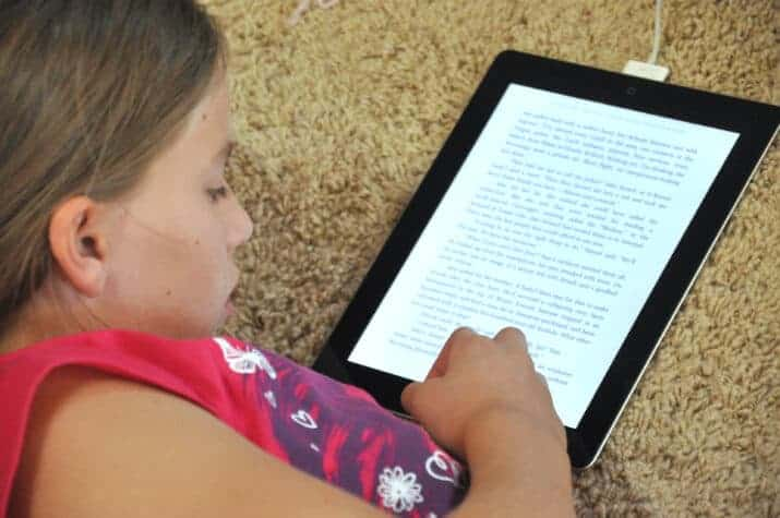 girl reading an ebook