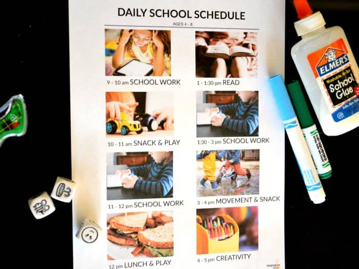 schedule for school at home due to Coronavirus closures