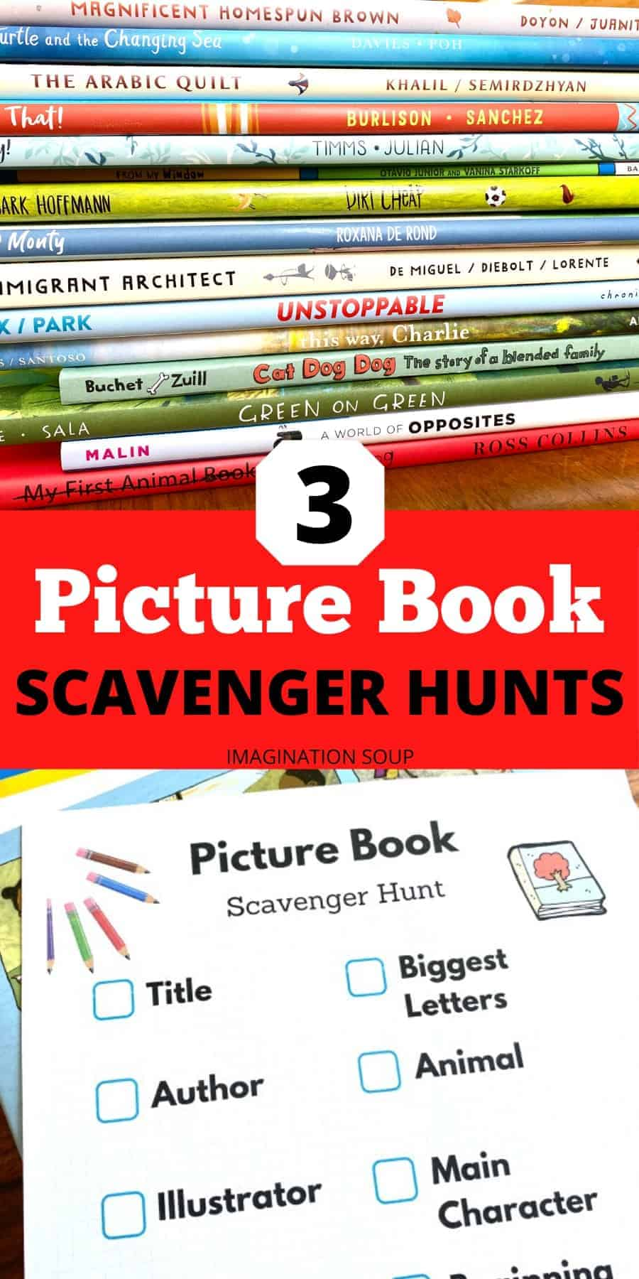3 picture book scavenger hunts for kids (fun at home literacy activity)