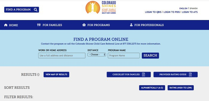 Colorado Shines Child Care Search Tool