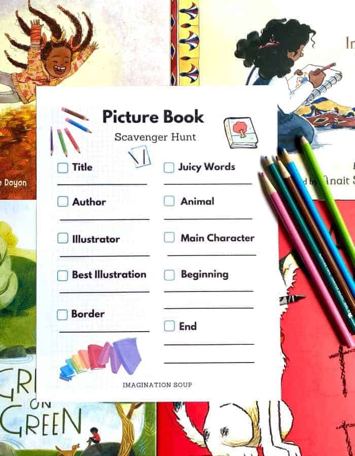 Have fun with picture books! Download this free picture book scavenger hunt for kids.